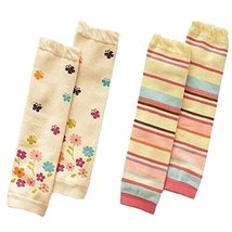 Set of 2 Cute Colorful Stripe&Flower Baby Girl Leg Wamers Comfy Leg Guards,0-3Y