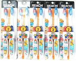 5 Packages Reach Disney Tsum Tsum 2 Ct Soft Toothbrushes Designed For Children - $21.99