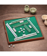 Mini Mahjong Set Chinese Antique Table Board Game Wooden Carved Tile Pie... - $18.69