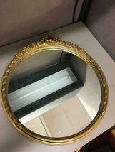 "Round Gilt Gold Painted Wood Mirror Ornate Carolina Mirror Company 20"" D... - $128.69"