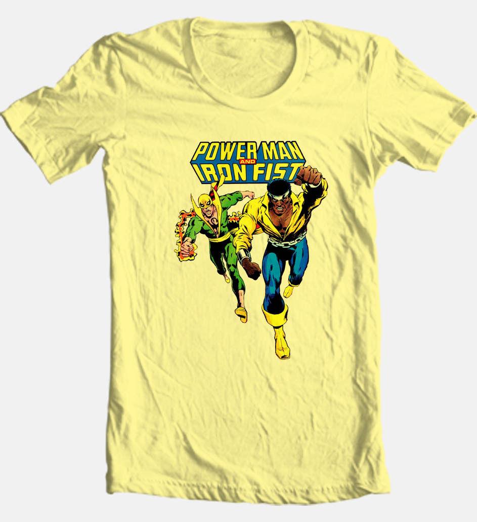 Power man iron fist retro comics tshirt superhero luke cage vintage for sale online graphic tee
