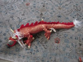 Folkmanis Plush Bright Red & Gold Full Body Chinese Dragon Puppet With Fire, Euc - $39.59