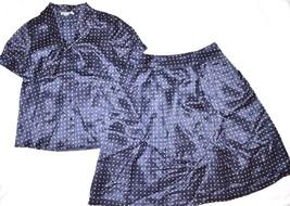 Pendleton 100% Silk Navy Blue White Square Polka Dot Skirt Blouse Dress 6-8 P - $24.99