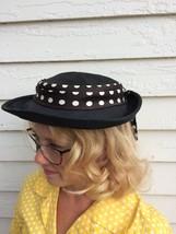 Polka Dot Hat Dark Navy Blue Summer Nautical Vintage Straw - $24.00