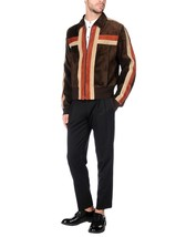 Men Dark Brown Stripped Sleeve Suede Leather Jacket Coat For Men - $150.00
