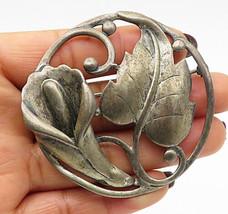 DANECRAFT 925 Silver - Vintage Antique Heavy Floral Round Brooch Pin - BP2610 - $141.09