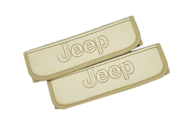 Jeep Beige Leather Seat Belt Covers / Logo Embroidery Shoulder Pads - $30.00