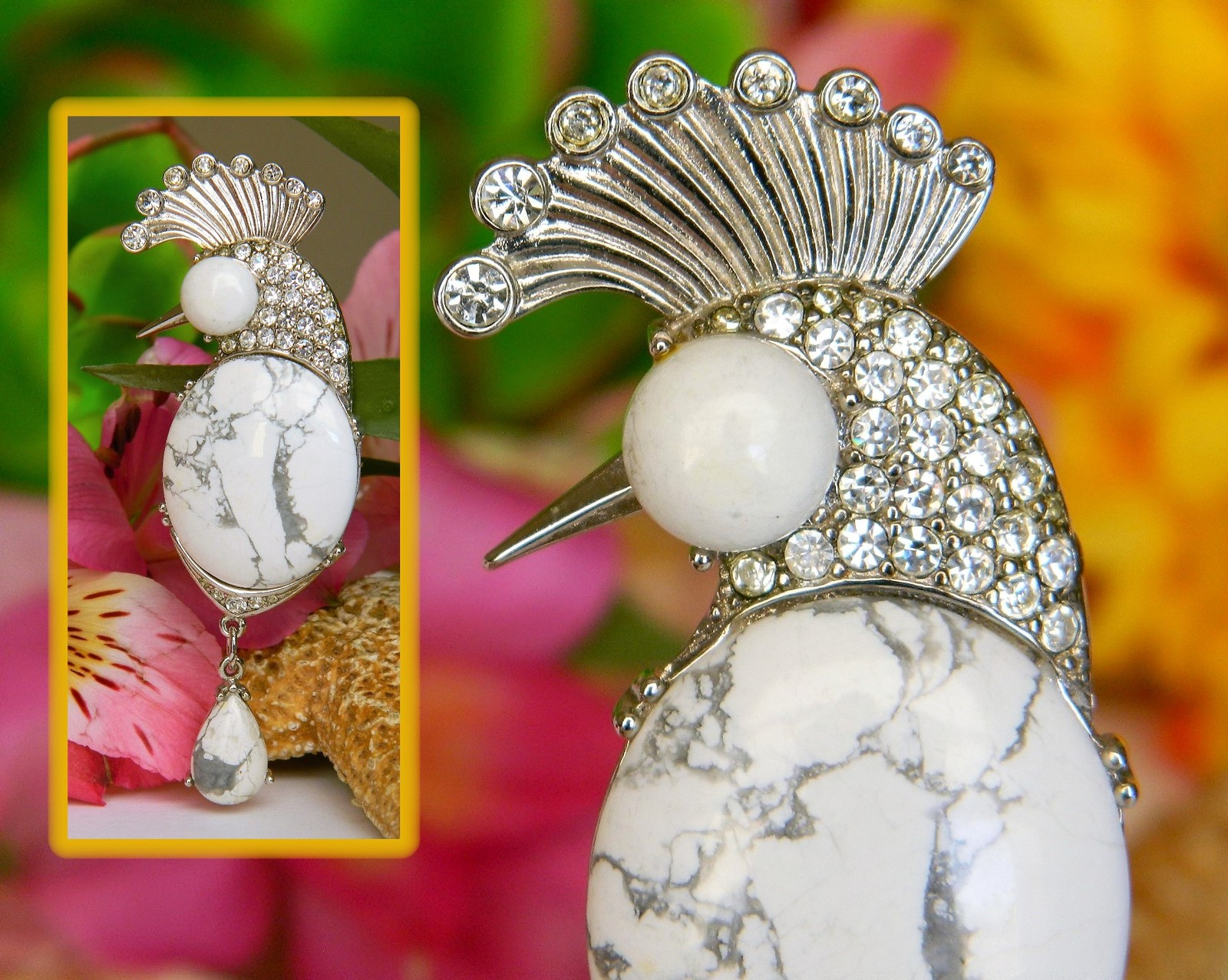 Primary image for Vintage Cockatoo Peacock Bird Brooch Pin White Howlite Stone Cabochon