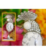Vintage Cockatoo Peacock Bird Brooch Pin White Howlite Stone Cabochon  - $69.95