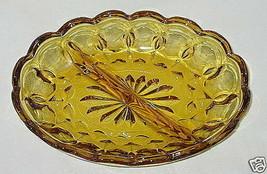 Anchor Hocking Fairfield Pattern Honey Amber 2-Part Relish Dish - $6.88