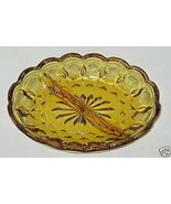 Anchor Hocking Fairfield Pattern Honey Amber 2-Part Relish Dish - $6.88