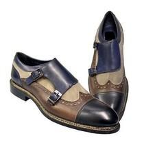 Men Blue Brown Beige Three Tone Cap Toe Buckle Straps Premium Leather Monk Shoes - $139.99+