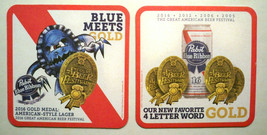 PABST BLUE RIBBON COASTERS (6) NEW, UNUSED; 2016 GOLD MEDAL; BLUE MEETS ... - $4.32