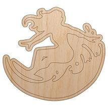 Surfing Surfer Girl on Wave Unfinished Wood Shape Piece Cutout for DIY Craft Pro - $4.99