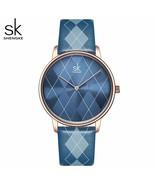 SK® Watches Women Watch PlaidLeather Girl Wristwatch Lady Clock Brand Wr... - $26.60