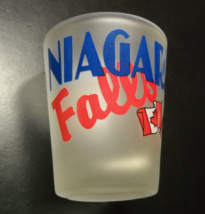 Niagara Falls Shot Glass Frosted Glass Red Blue Print Canadian American ... - $6.99