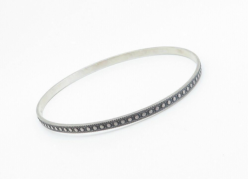 925 Sterling Silver - Vintage Dark Tone Patterned Thin Bangle Bracelet - B6041 image 3