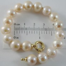 18K YELLOW GOLD BRACELET 7.5 INCHES WITH ROSE 10 MM FW PEARLS, MADE IN ITALY image 1