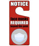Face Masks Required Red Novelty Metal Door Hanger - $12.95