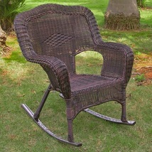 Outdoor Rocking Chair Set of 2 Camel Back Resin Wicker Steel Sturdy Comf... - $346.66