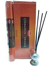 Hem Cinnamon-Orange Incense Sticks Natural Fragrance Hand Rolled Indian ... - $13.99