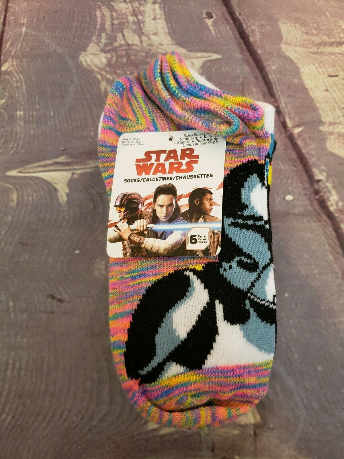 Disney Star Wars Girls No Show Ankle Socks 6 pairs Size M Youth (9- 2.5)