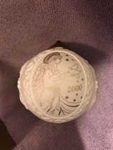 Wedgwood White Jasperware Year 2000 Ornament Christmas Ball with Gold Angel image 5