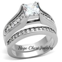 HCJ Stainless Steel Princess Cut 1 Carat CZ Engagement & Wedding Rings S... - $19.79