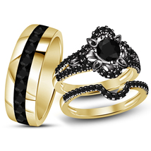 14k Black Gold Finish 925 Sterling Real Silver Mens Womens Wedding Trio ... - $158.99
