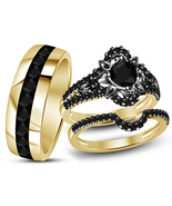 14k Black Gold Finish 925 Sterling Real Silver Mens Womens Wedding Trio ... - £98.04 GBP