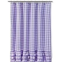 Gingham Shower Curtain  Lavender/White Cotton - $28.70