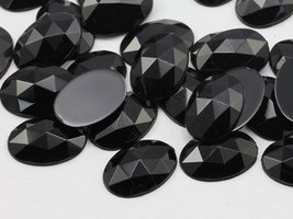 40x30mm Jet Black H101 Flat Back Oval Acrylic Jewels Pro Grade - 4 Pieces - $5.59