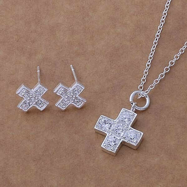 Primary image for Jeweled Cross Necklace And Earrings Set 925 Sterling Silver NEW