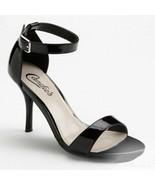 Candies Black Veronique Patent Leather Stiletto High Heels Open Toe Shoe... - $29.99