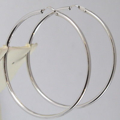 SOLID 18K WHITE GOLD CIRCLE EARRINGS HOOP, TUBE, DIAMETER 1.61 In MADE IN ITALY