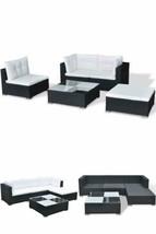 Black Outdoor Sofa Set Garden Patio Hotel Pool Lounge Coffee Table Stool... - $548.36