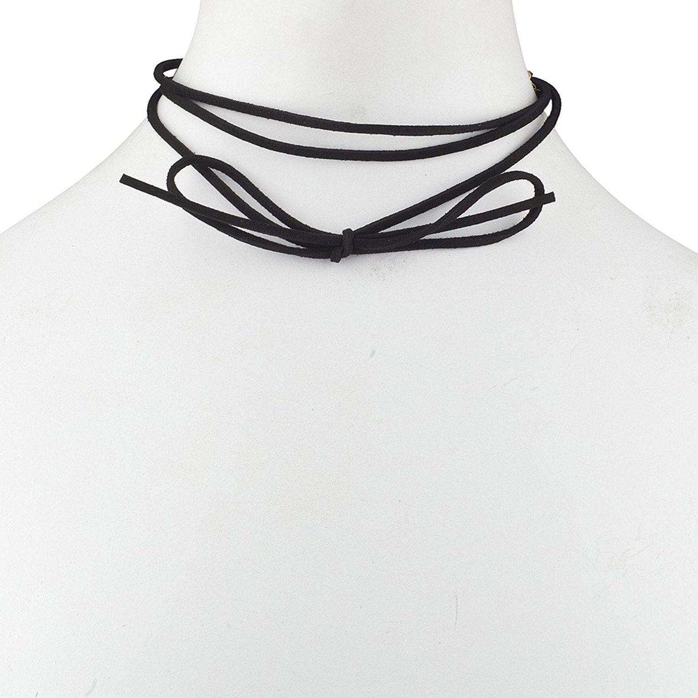 Lux Accessories Plain Black Suede Cord Wrap Choker Necklace