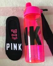 Victoria's Secret Pink Neon Hot Pink Water Bottle & Black No Show Socks Set - $478,21 MXN