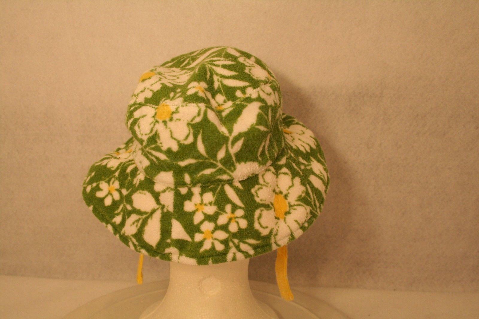 Janie & Jack Child Reversible Sun Hat Green daisy yellow polka dot w/adjust ties