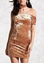 Forever 21 Crushed Velvet Bodycon Choker Mini Dress Camel Metallic Tan S... - $11.60