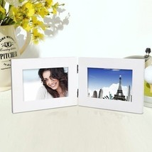 """Adeco 2-Opening 4x6"""" White Wood Hinged Table Desk Top Picture Frames - $17.09"""