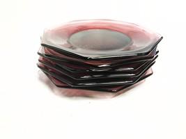 Vintage mid century set of 6 Hazel Atlas octagonal purple glass plates - $59.00