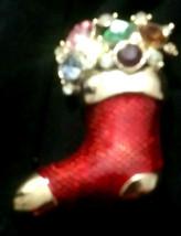 Vintage Enamel  Christmas Stocking Multi-color Pin Brooch - $15.00