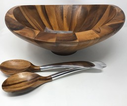 Nambe Butterfly Salad Bowl Wood with Servers (18-533) - ₨11,723.97 INR