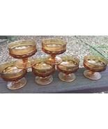 6 Vtg Indiana Glass Kings Crown Amber Thumbprint Dessert Ice Cream Custa... - $19.79