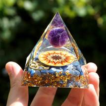 Sun Of Life Orgonite Pyramid Amethyst Crystal Sphere&Kyanite Quartz EMF - $17.99
