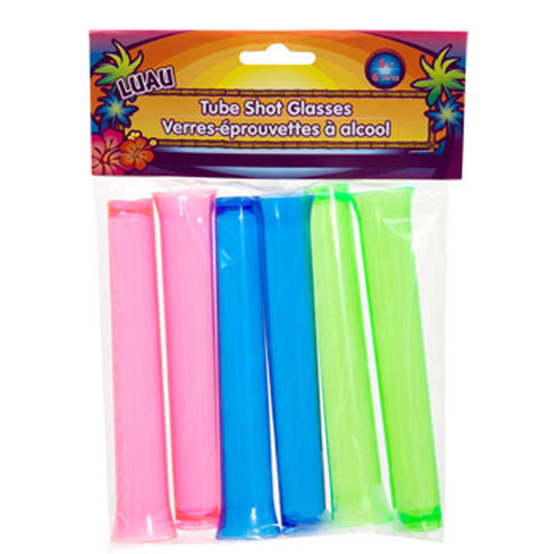 6pc-Luau Tiki Bar-TEST TUBES SHOOTER SHOT GLASSES-Blacklight Party Drinking Game