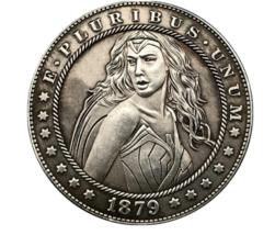 Hobo Nickel Dollar Greek Goddess Amazon Wonder Woman Warrior Battle Cast... - $10.44