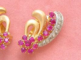 Vintage 1940 Retro .66ctw Diamond & Ruby Brushed 18K Huggie Cocktail Earrings - $1,147.41