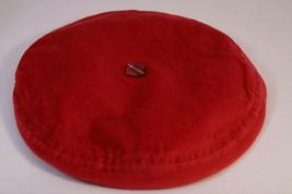 "Girls' Red Velvet Beret Children's Hat 17"" / 43 cm Circumference Plaid Trim - $10.78"
